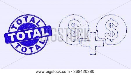 Geometric Financial Sum Mosaic Pictogram And Total Seal Stamp. Blue Vector Rounded Textured Seal Wit