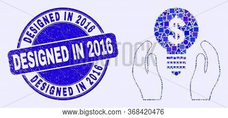 Geometric Dollar Bulb Care Hands Mosaic Icon And Designed In 2016 Seal Stamp. Blue Vector Rounded Di