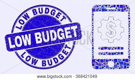 Geometric Mobile Financial Options Mosaic Icon And Low Budget Seal. Blue Vector Round Distress Seal
