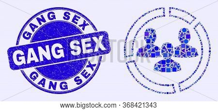 Geometric Social Pie Chart Mosaic Icon And Gang Sex Stamp. Blue Vector Round Grunge Stamp With Gang