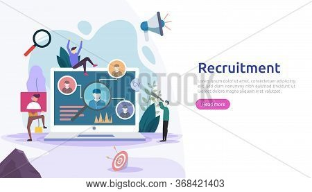 Job Hiring And Online Recruitment Concept With Tiny People Character. Agency Interview. Select A Res