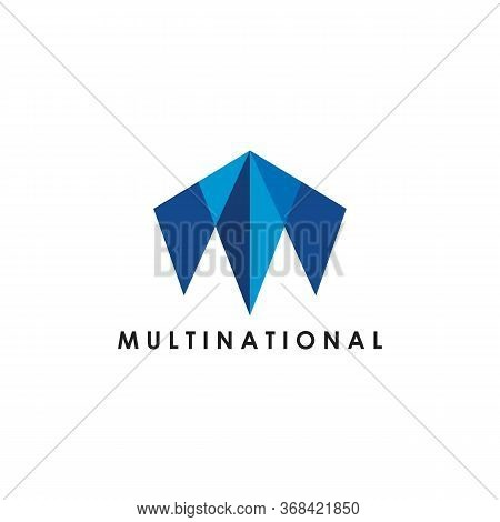 M Letter Multinational Logo Vector And Minimalist