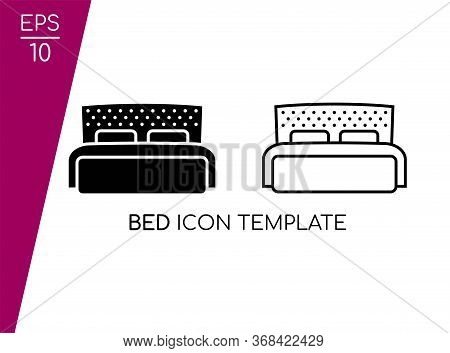 Simple Bed Icon Set With Black Style Isolated On White Background. Design In Two Image Vector. Suita