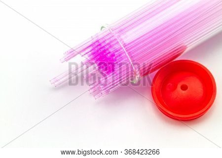 Close Up  Capillary Tube , Medical Equipment On White Background,selective Focus.