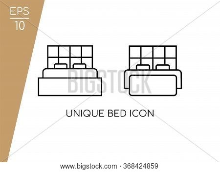 Simple Bed Icon Collection With Line Style Isolated On White Background. Consist Of Two Lovely Bed I