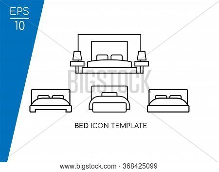 Bed Icon Collection With Line Style Isolated On White Background. Consist Of Four Bed Icon Vector Im
