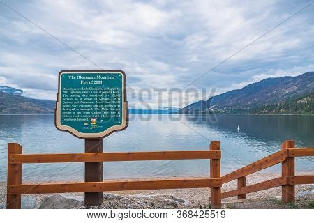 Peachland, British Columbia, Canada - September 8, 2019: A Sign On Antlers Beach Commemorates The De