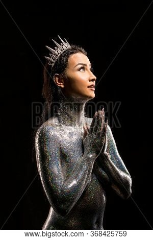 Topless Brunette With Glitter Bodyart And Crown