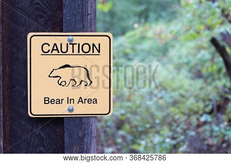 Fintry, British Columbia, Canada - September 9, 2019: Sign Warning People Of A Bear That Has Been Sp