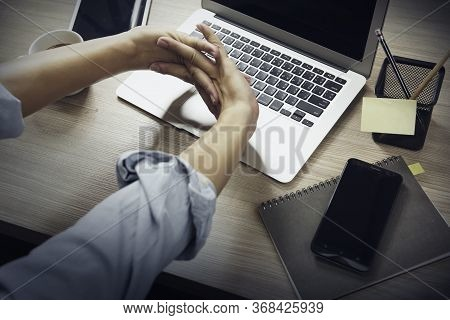 Young Business Man Working Hard, At The Office Table, Time Lapse Footage