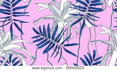 Botanical Seamless Pattern, Blue Leaves, Bromeliaceae Plant And Vines On Pink Background, Blue And P