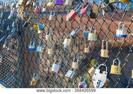 Penticton, British Columbia/canada - November 24, 2019:  Love Locks Couples Have Attached To One Of