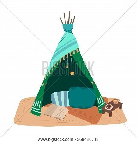 Flat Illustration Of Blanket House With Pillows, A Garland And Tea With Cookies. Stay Home. Game For