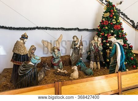 Jerusalem, Israel, December 28, 2018 : The Biblical Scene Of The Birth Of God Son Made Of Wood Is Lo