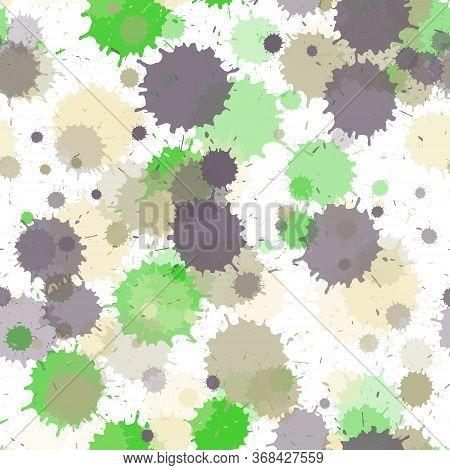 Graffiti Spray Transparent Stains Vector Seamless Wallpaper Pattern. Random Ink Splatter, Spray Blot