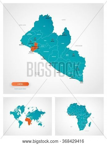 Editable Template Of Map Of Liberia With Marks. Liberia On World Map And On Africa Map.