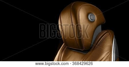 Brown Leather Interior Of The Luxury Modern Car. Perforated Brown Leather Comfortable Seats With Sti