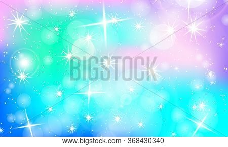 Rainbow Background. Unicorn Colorful Backdrop. Holographic Sky In Pastel Colors. Unicorn Pattern In