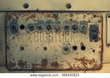 Close-up Of Old Switch Panel Electric Circuit Breaker, Electric Box.