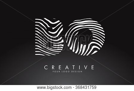 Bo B O Letters Logo Design With Fingerprint, Black And White Wood Or Zebra Texture On A Black Backgr