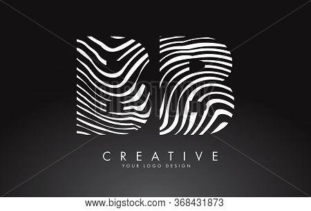 Bb B Letters Logo Design With Fingerprint, Black And White Wood Or Zebra Texture On A Black Backgrou