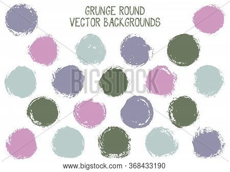 Vector Grunge Circles. Retro Stamp Texture Circle Scratched Label Backgrounds. Circular Icon, Badge