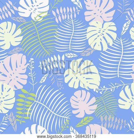 Purple Mint Tropical Swiss Cheese Plant Leaf Seamless Vector Pattern Graphic Floral Fern Leaves Past