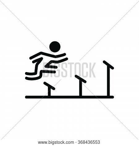 Black Solid Icon For Athletics Olympics Runners Running Sports