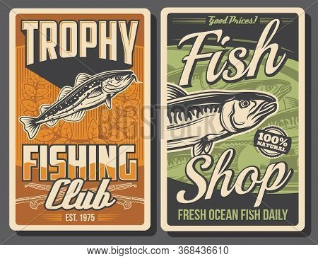 Fishing Retro Posters. Vector Mackerel And Codfish With Rods And Laurel Wreath. Fishing Club Tournam