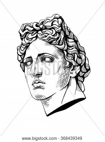 Bust Of Apollo, The Ancient Greek God. Linear Contour Sketch Of Marble Greece Or Rome Statue. Ink Li