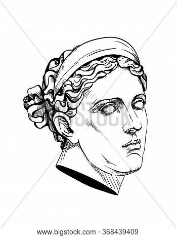 Bust Of Diana Huntress Or Artemis, Ancient Greek God. Linear Contour Sketch Of Marble Greece Or Rome