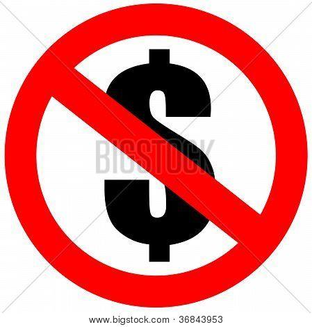 Ningún signo de dólar del dinero
