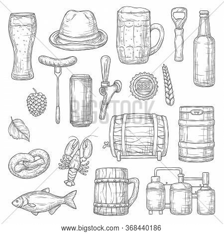 Beer Alcohol Drink Isolated Sketches Of Brewery, Bar And Pub Vector Design. Glass, Bottle And Mug Of
