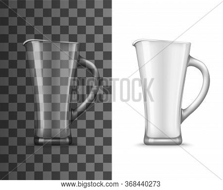 Glass Pitcher Or Jug Realistic Vector Mockup Of Empty Transparent Jar For Water, Milk Or Juice Drink