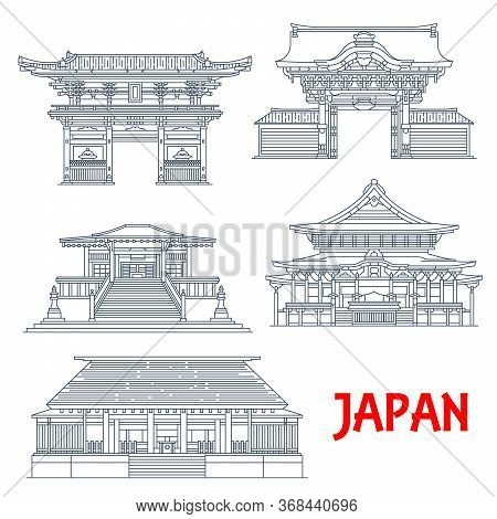 Japanese Travel Landmarks Of Tokyo. Vector Thin Line Buildings Of Buddhism Religion Temples Nishi Ho