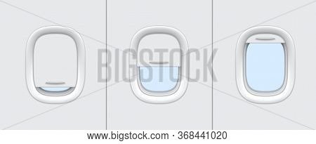Plane Or Airplane Windows Realistic Vector Mockup Of Aircraft Cabin Interior Design. Portholes With