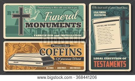 Funeral Coffin, Monument And Testament Vector Design Of Burial Or Cremation Service. Cemetery Grave,