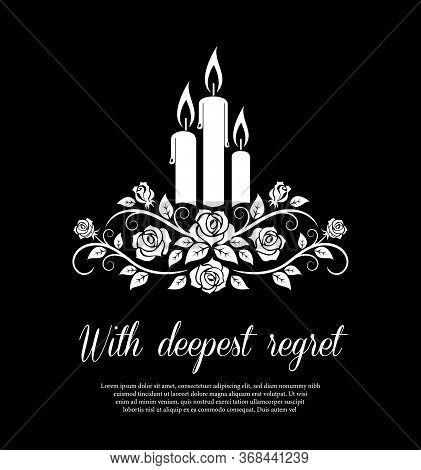 Funeral Card Vector Template, Monochrome Burning Candles And Rose Flower Ornament. Vintage Condolenc