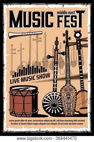 Festival Of Middle East Music Vector Poster With Folk Musical Instruments. Lyre Guitar, Drum With Dr