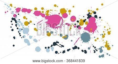 Watercolor Paint Stains Grunge Background Vector. Vintage Ink Splatter, Spray Blots, Dirt Spot Eleme