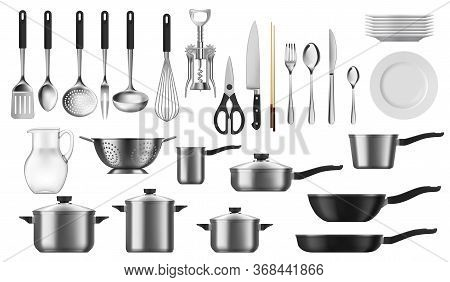 Kitchenware Realistic Set Of Vector Kitchen Utensils, Cutlery And Tools. Cooking Pot, Spoon, Knife A