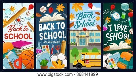 Back To School, Student Books And Chalkboard Vector Banners. Back To School Education Items, Chemist