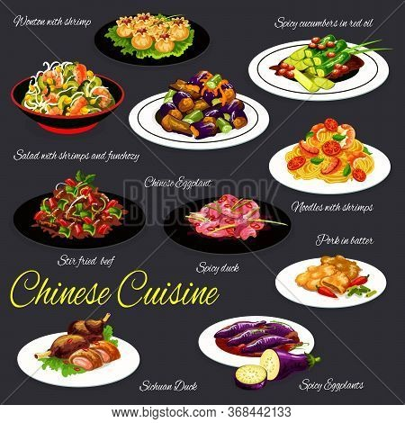 Chinese Food Of Vegetable, Meat And Seafood, Vector Asian Cuisine. Shrimp Noodles And Wonton Dumplin