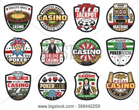 Casino Roulette And Poker Croupier Vector Icons Of Gambling Games. Casino Play Cards, Roulette Wheel