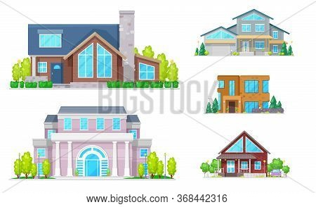House Buildings Of Real Estate Vector Icons. Two Storey Homes, Cottage, Villa And Bungalow, Mansion