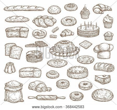 Bread And Pastry Isolated Sketch Icons, Vector Food Of Bakery Shop. Bread, Cake, Baguette And Croiss