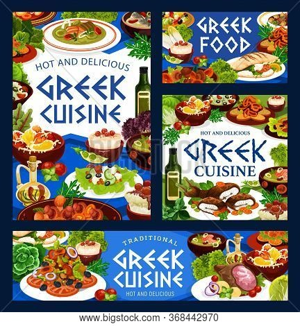 Greek Cuisine Vector Food Of Vegetable, Fish, Meat And Seafood With Rice Dessert. Beef Stew Stifado,