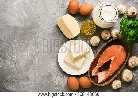 Food With Vitamin D. A Set Of Products Rich In Vitamin D. Top View, Flat Lay, Copy Space
