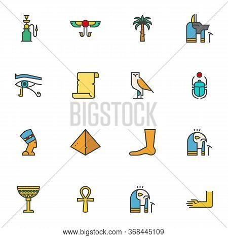 Egypt Filled Outline Icons Set, Line Vector Symbol Collection, Linear Colorful Pictogram Pack. Signs