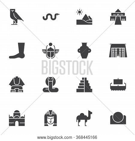 Ancient Egypt Vector Icons Set, Modern Solid Symbol Collection, Filled Style Pictogram Pack. Signs,